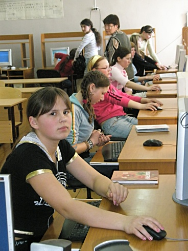 Children in the Putino village of Perm Krai running Linux